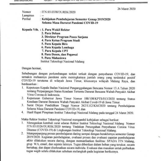 Kebijakan Pembelajaran Semester Genap 2019/2020 Selama Masa Darurat Pandemi Covid-19